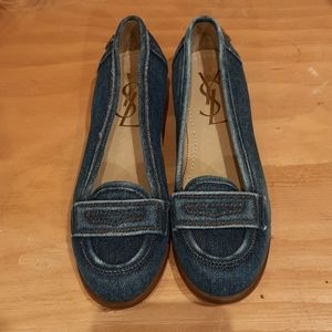 YSL Denim Loafers, New! Size 37, 7 US